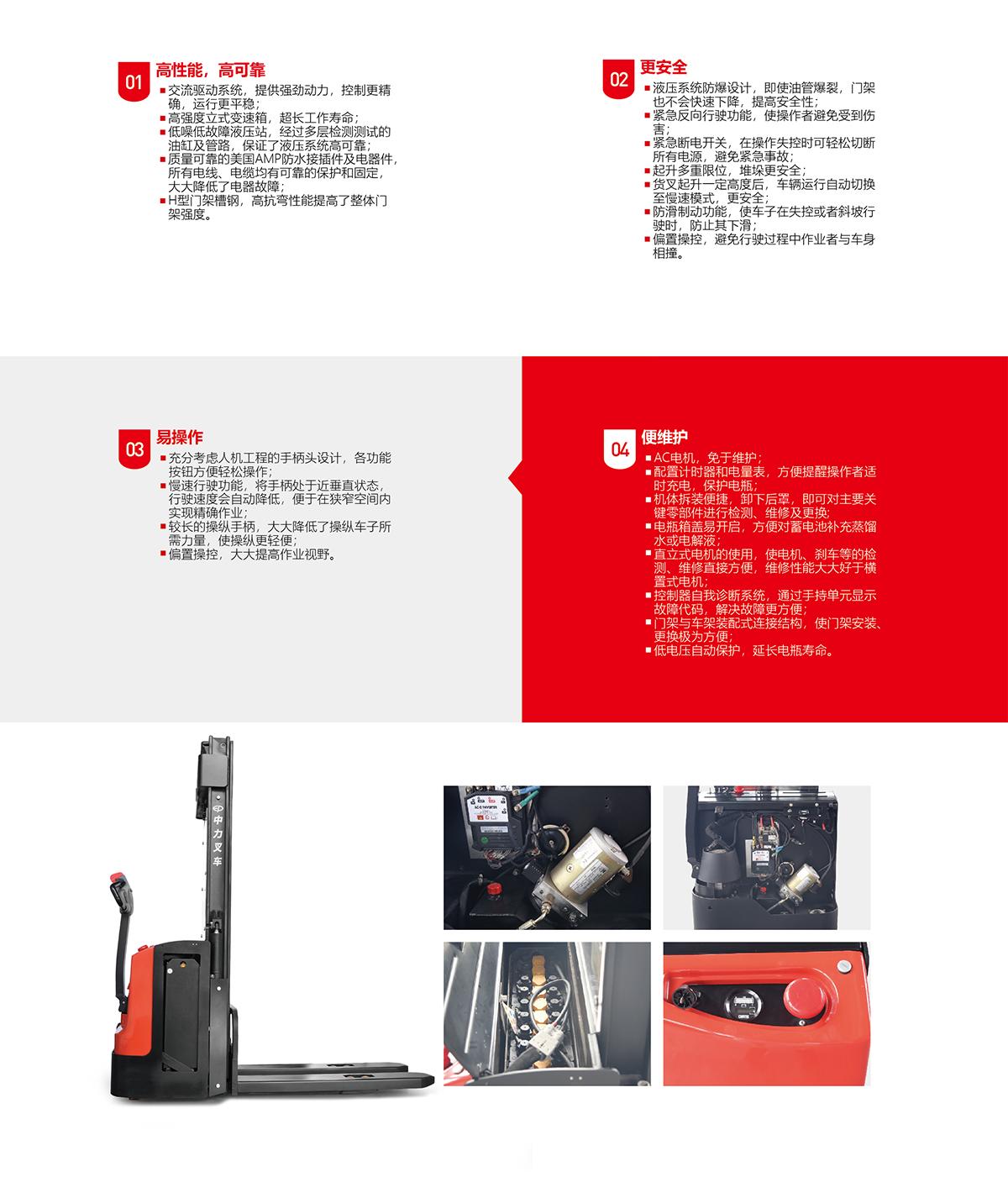 中力 1.2/1.4/1.6吨电动堆高车 ES12-12WA/ES14-14WA/ES16-16WA