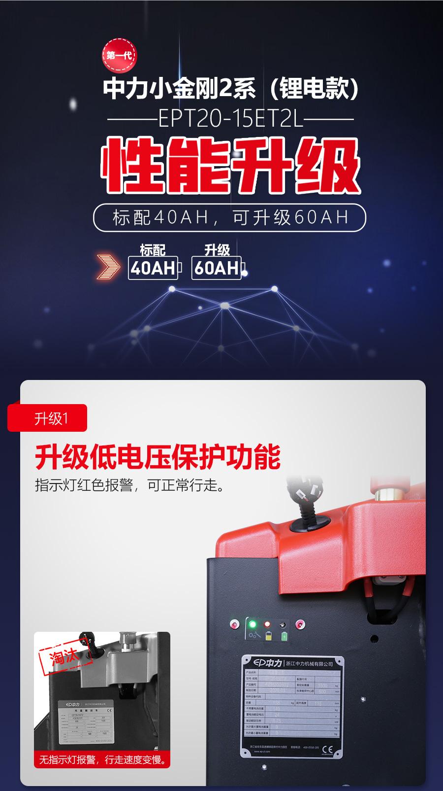 中力 1.5吨锂电池搬运车/第一代小金刚2系EPT20-15ET2L(锂电款)