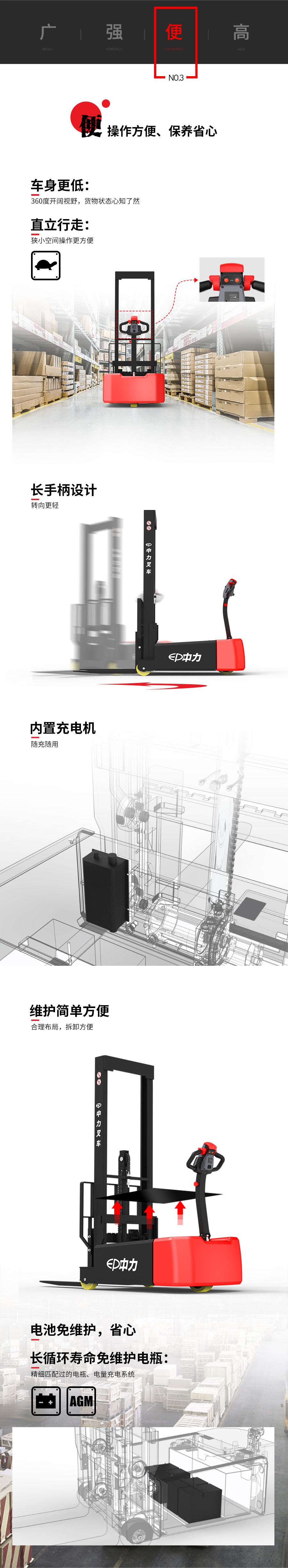 中力 1.0吨平衡重式堆高车ECT101Z